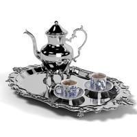classic luzury silver teapot kettle tray cups porcealin tea set