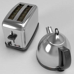 3d kettle toaster