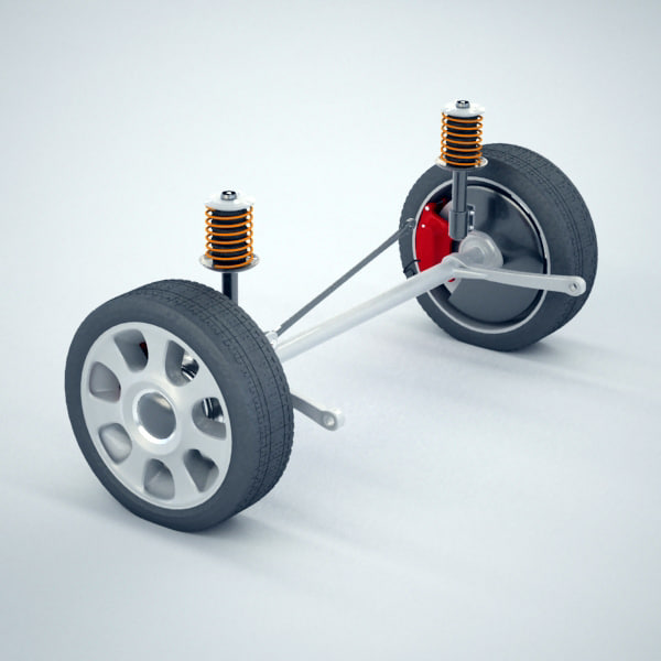 rear beam axle suspension 3d model