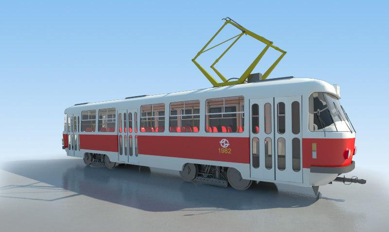 3d model tram tatra t3 -