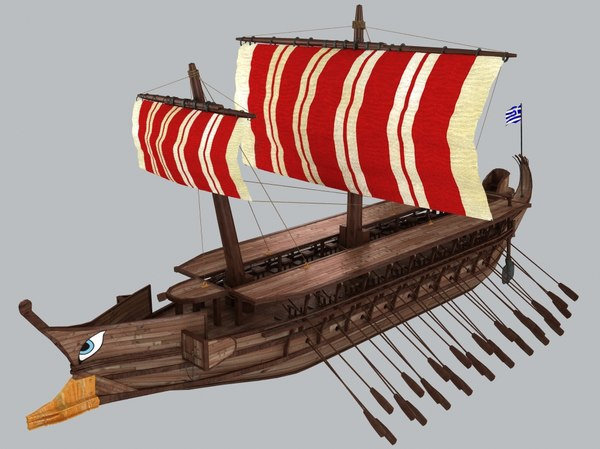 3ds max trireme modeled boat