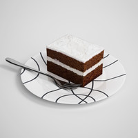 CGAxis 3D Model Cake Slice on Plate 13