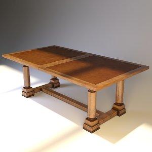 3d model henredon trestle table 4003-20