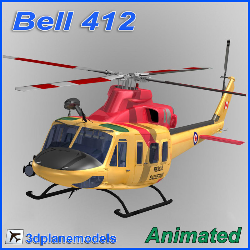 bell 412 helicopter animation max