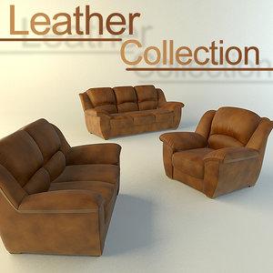 3dsmax leather sofas
