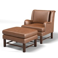 gregorius pineo 5552 KEITH ARMCHAIR club wing lounge chaise armchair foot stool chair ottoman  leather  traditional classic country style