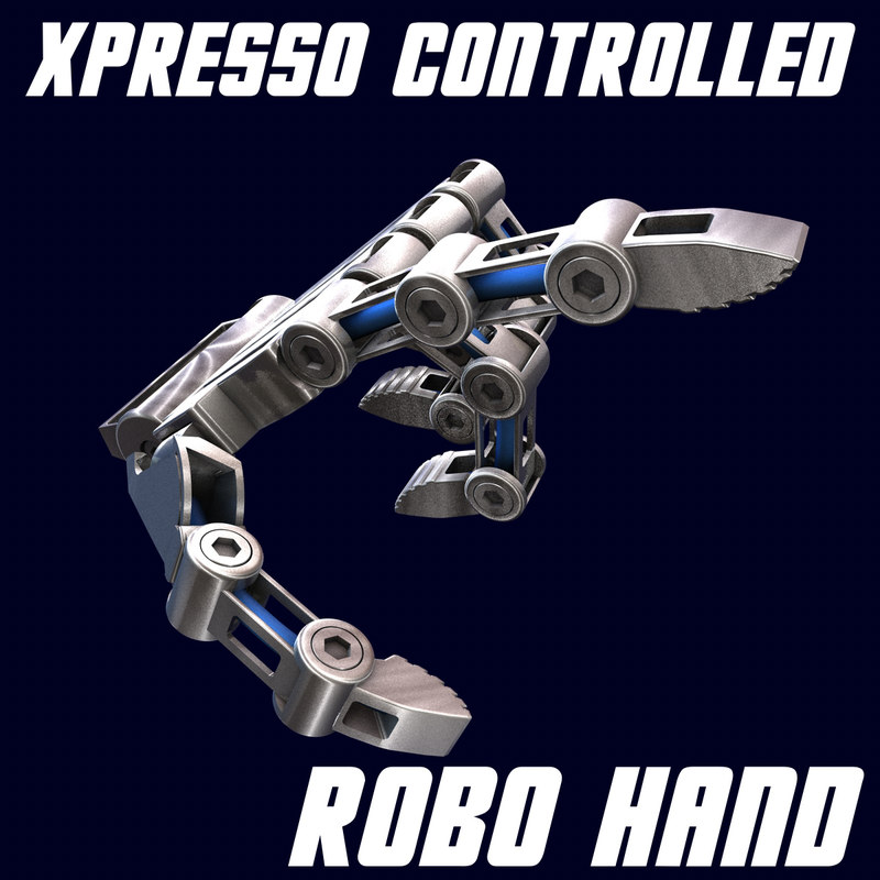 3d xpresso controlled robot hand model