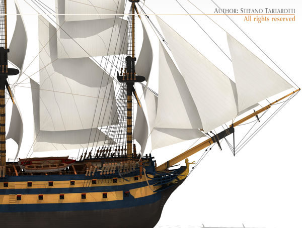 rate hms leopard warship 3d model