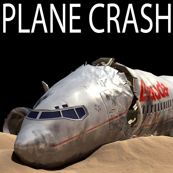 3d crashed airplane model