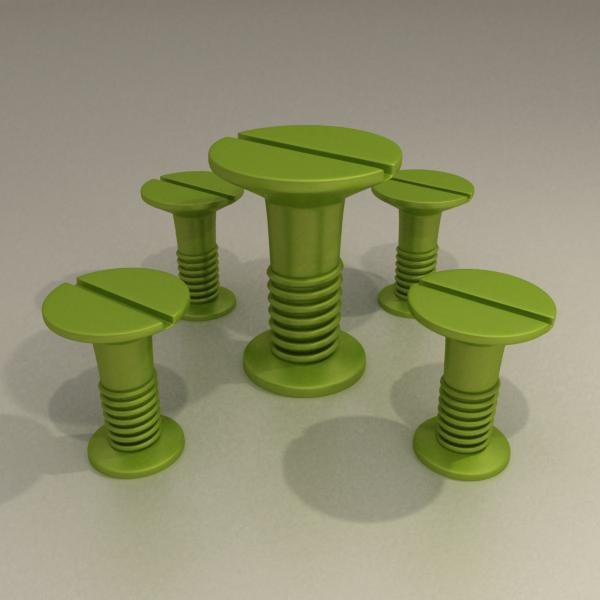 screw table chairs 3d model