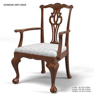 baker georgian armchair 3d max