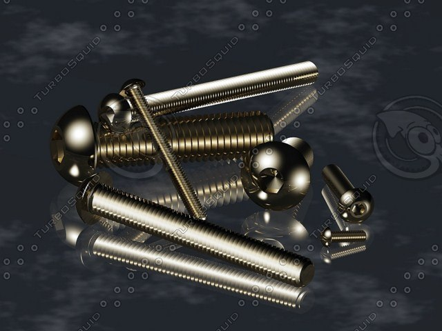 screws bolts din 7380 3d dwg