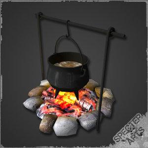 3d seasoned cauldron campfire