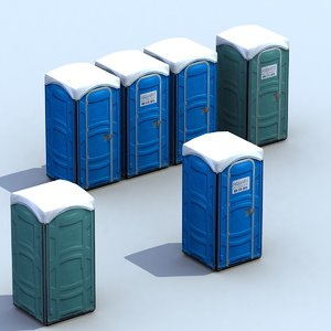 3d portable public toilet model