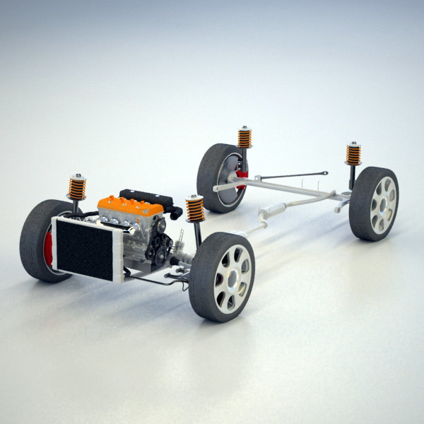 wheel drive suspension 3d model