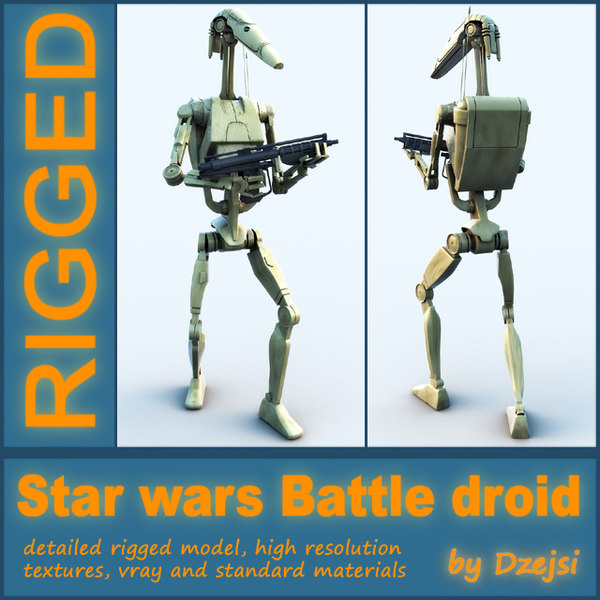 3d battle droid blaster rigged model