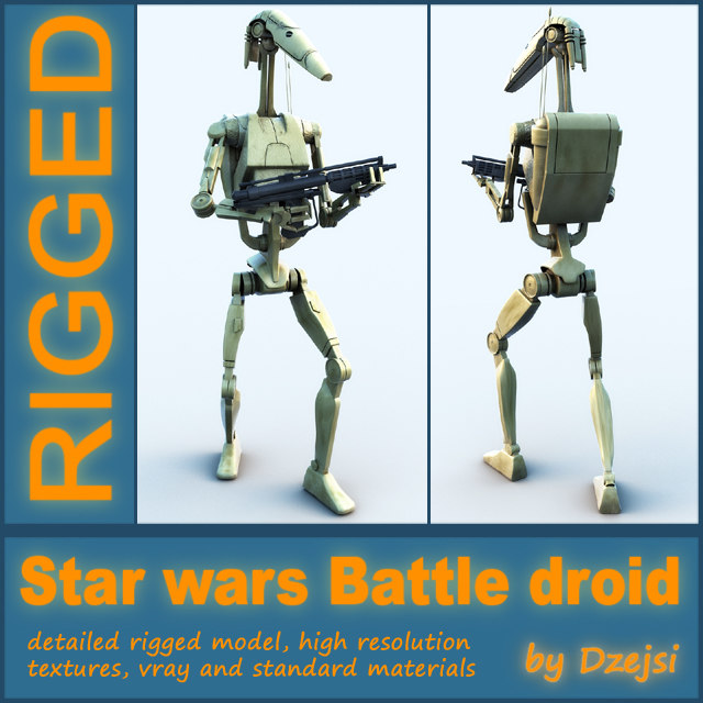 3d battle droid blaster rigged model