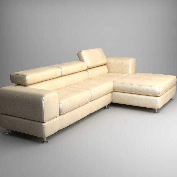 sofa corner chaise 3d model