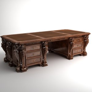antique desk wooden 3d model