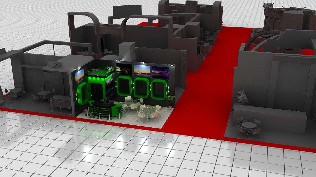 fair stand expo area 3d model