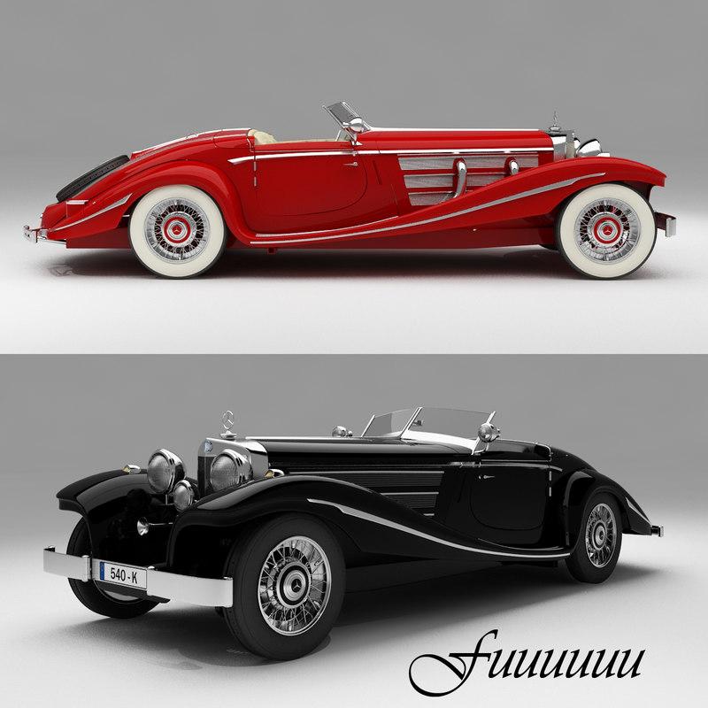 3d mercedes-benz 540k 1935 vehicle car