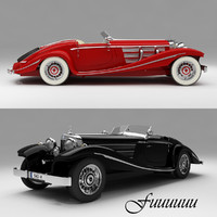 3d mercedes-benz 540k 1935 vehicle car