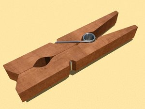 clothespin modelled 3d model