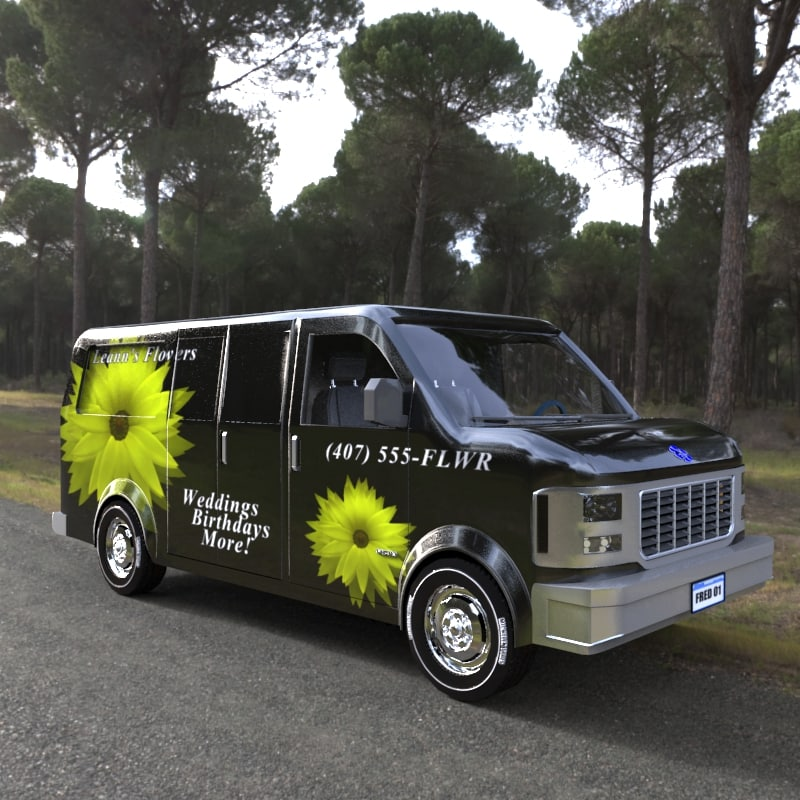 vehicle delivery van 3d obj