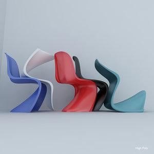 3d model verner panton plastic chair