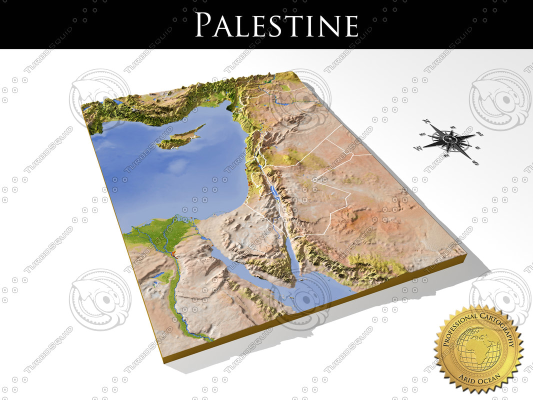 relief palestine maps 3d model