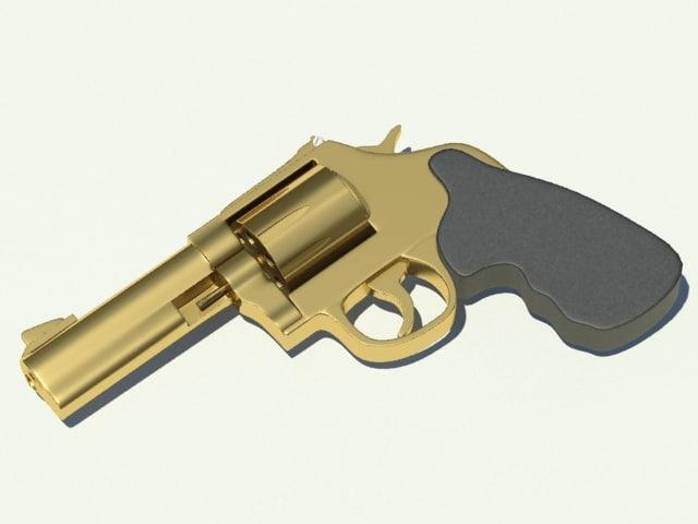 3d model golden revolver