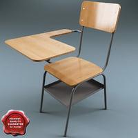 3d model school desk v2