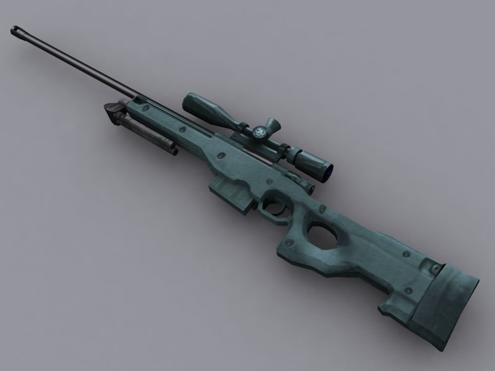 aws sniper rifle 3d model