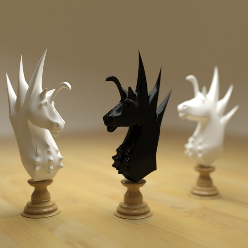 3d model chess knight