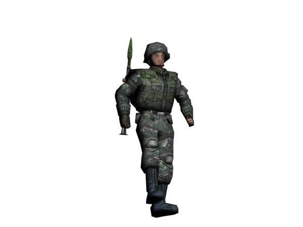 3d model soldier rpg-7