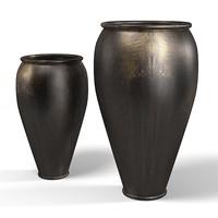 oriental african big drum vase jug black accent