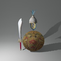 3d model fantasy shield chinese helmet
