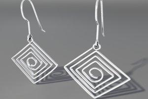 3d model silver earrings