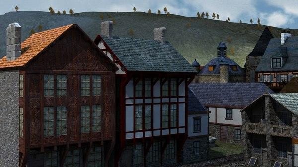 3d model medieval houses