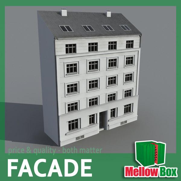 3d city house facade