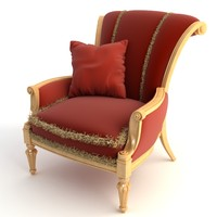 chair armchair red 3d model