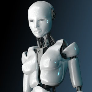 robot bot female 3d model