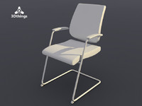 conference chair black dot 3d blend