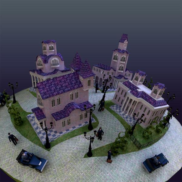 city scene haunted 3ds