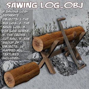 sawing log 3d obj