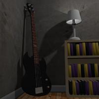 3dsmax esp viper-54 bass guitar