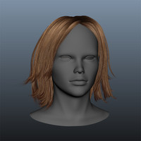 3d model brown female hair style