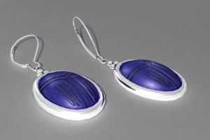 earrings blue scarab 3d model