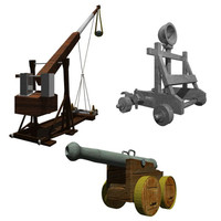Medieval Catapults & Cannon (low poly)