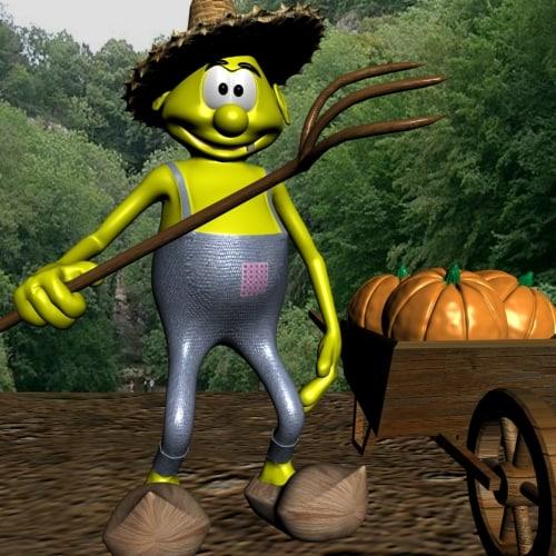 3d farmer cartoon rigged